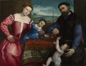 Lorenzo Lotto. portrait of Giovanni della Volta and family. 1547