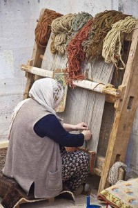 Turkish Weaver with upright loom