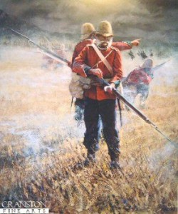 Soldier of the 24th Regiment of Foot (South Wales Borderers) loads his last round at the Battle of Isandhlwana.