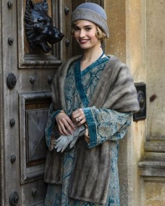 Lily James wears Fortuny